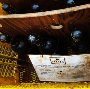 Open cage of wine retrieved from the ocean