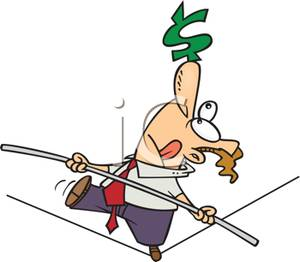 A_Man_Balancing_a_Dollar_Sign_on_His_Nose_and_Walking_a_Tightrope_Royalty_Free_Clipart_Picture_110430-174782-949053